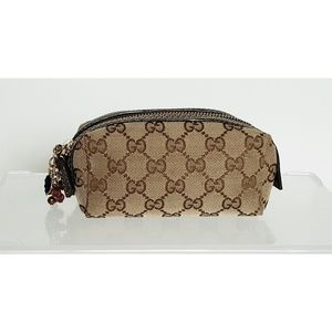Gucci Canvas Small Cosmetic Bag w/Charms